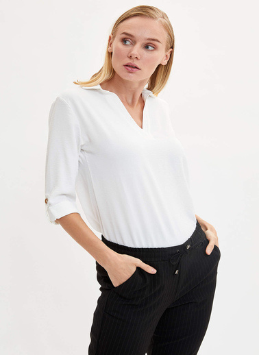 DeFacto V Yaka Uzun Kollu Bluz Ekru